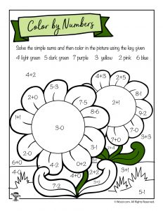 Math Single Digit Sums Coloring Page