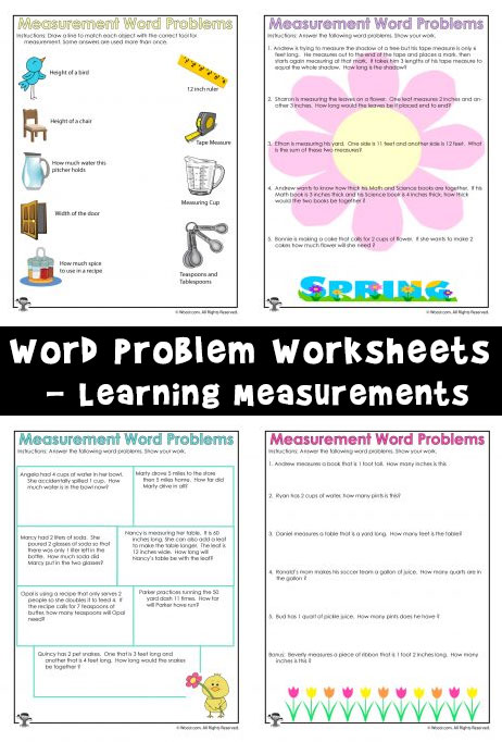 Spring Math Word Problem Worksheets Learning Measurements Woo