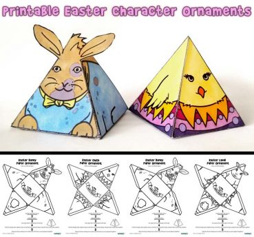 Printable Easter Ornaments – Bunnies, Chick and Lamb