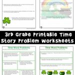 Printable Time Story Problem Math Worksheets for St. Patrick's Day