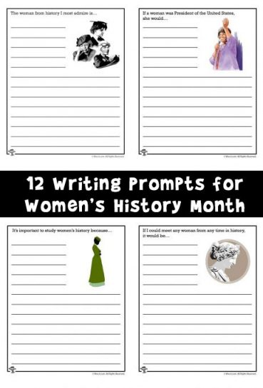 Writing Prompt Worksheets for Women's History Month