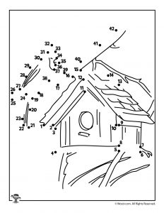 Birdhouse Dot to Dot Printable Activity