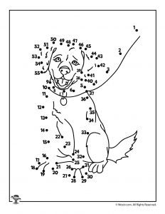 Cute Dog Counting Practice Dot to Dot