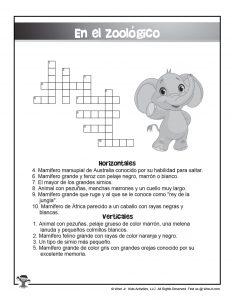 En El Zoologico Crossword Puzzle