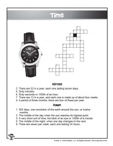 Free Printable Time Crossword Puzzle