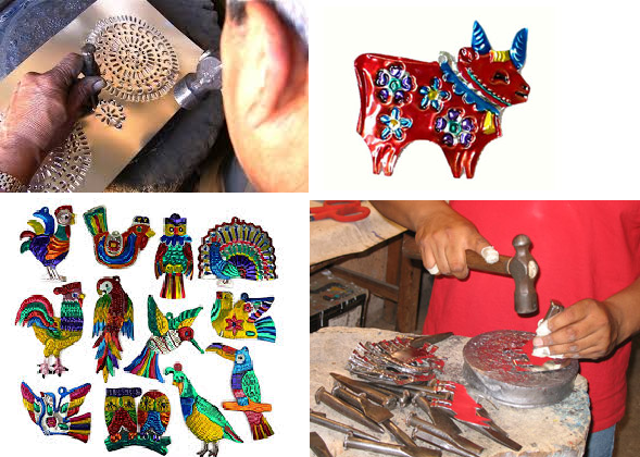 Examples of Mexican tin art