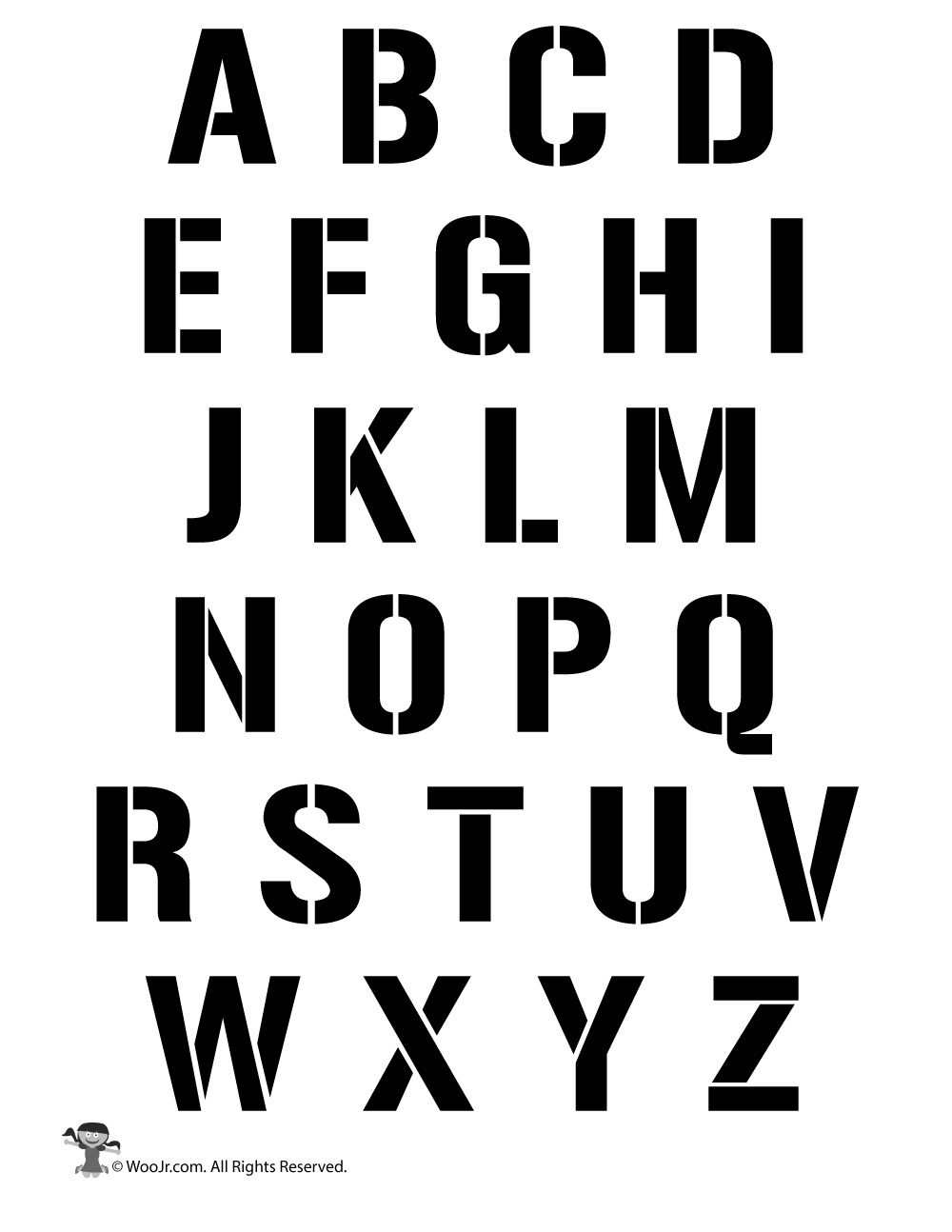Clever image within printable alphabet stencils