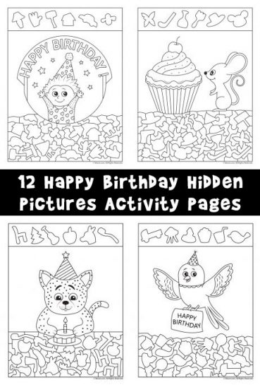 Birthday Hidden Pictures Activity Pages