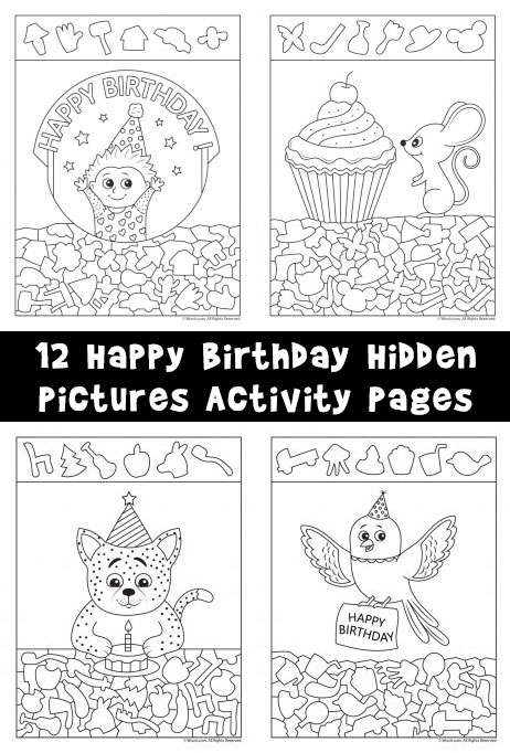 Happy Birthday Hidden Picture Activity