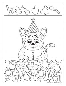 Birthday Cat I Spy Worksheet