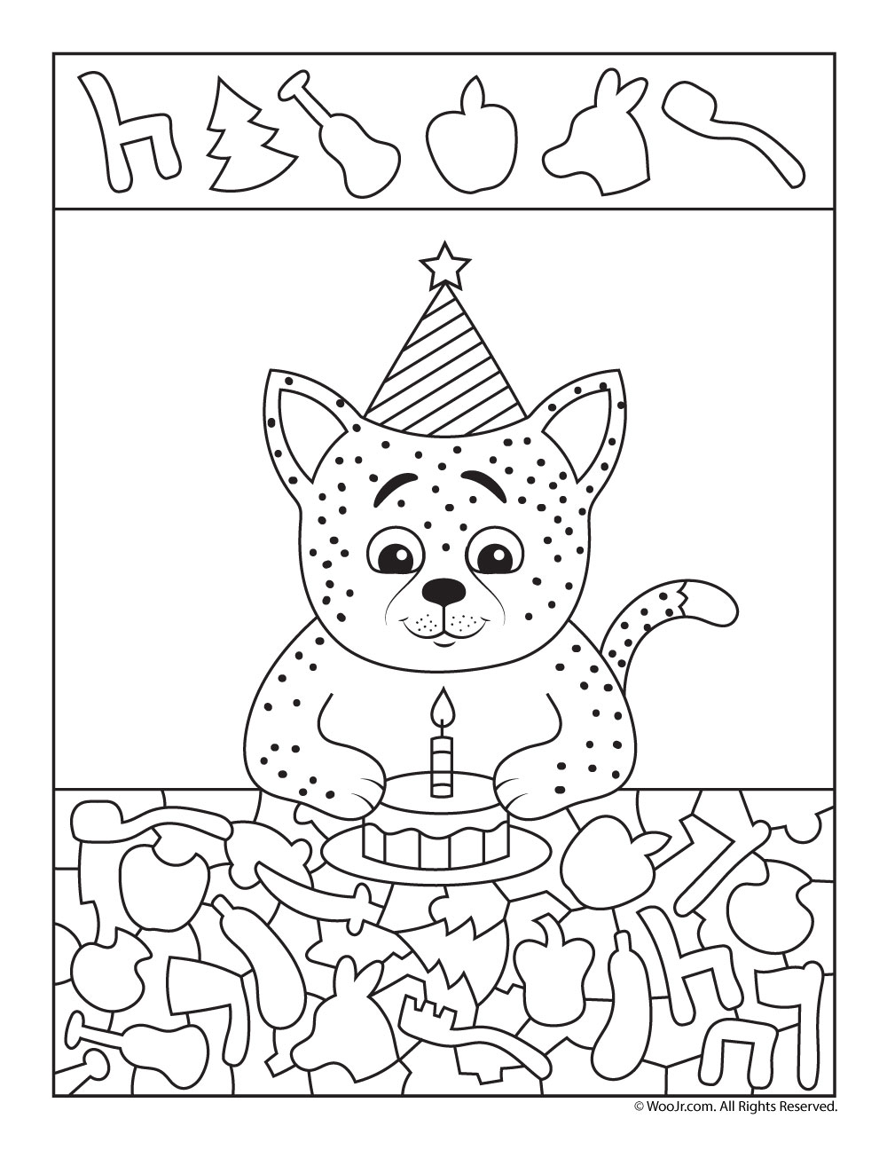 birthday cat i spy worksheet woo jr kids activities. Black Bedroom Furniture Sets. Home Design Ideas