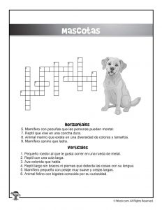 Mascotas Spanish Crossword Puzzle