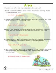 Earth Day Measuring Area Math Answer Key