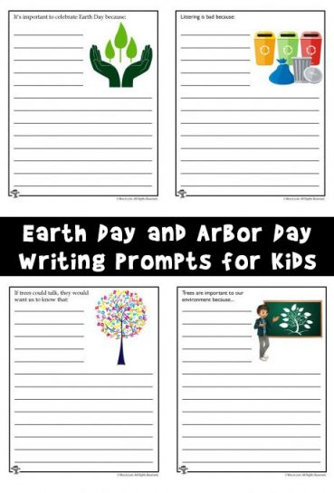Printable Earth Day and Arbor Day Writing Prompts for Kids