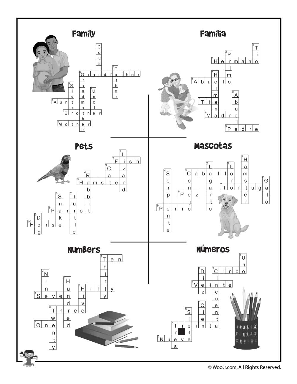 Spanish Crossword Puzzles Use Our Special Click To Print Button Send Only The Image Your Printer