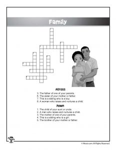 Family Members English Crossword Puzzle