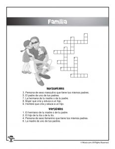 Familia Spanish Crossword Puzzle
