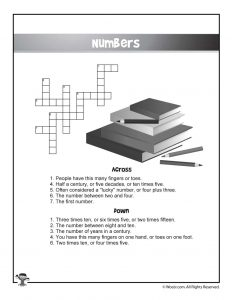 Numbers English Crossword Puzzle