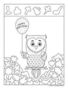 Happy Birthday Owl I Spy Activity Page