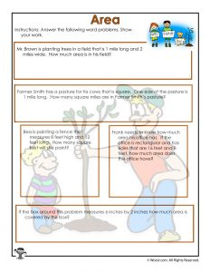 Measuring Area Word Problems Worksheet