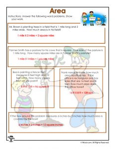 Measuring Area Word Problems Worksheet Answer Key