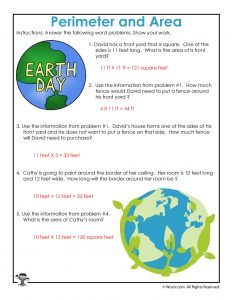 Earth Day Word Problem Math Worksheet Answer Key