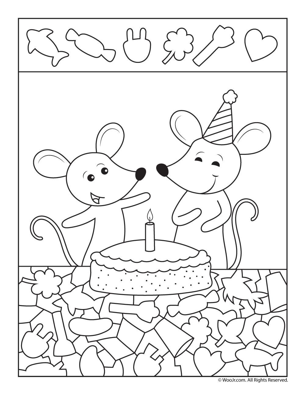 Tremendous Birthday Cake Hidden Picture Party Printable Woo Jr Kids Funny Birthday Cards Online Elaedamsfinfo