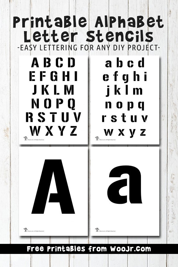 graphic regarding Letter Printables titled Printable Alphabet Letter Stencils Woo! Jr. Young children Things to do