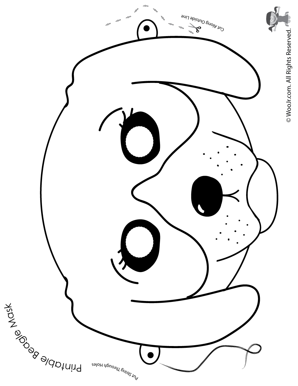 Beagle Mask Coloring Page Woo Kids Activities Jpg 1000x1294 Dog Pages