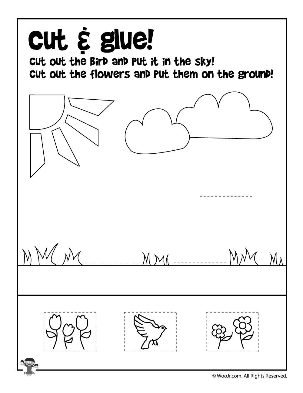 summer cut and paste worksheet woo jr kids activities. Black Bedroom Furniture Sets. Home Design Ideas