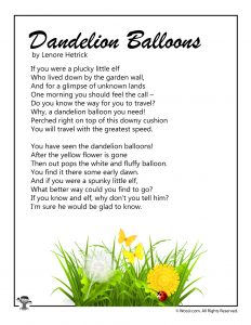 Dandelion Balloons Kid's Poem to Print