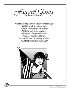 Farewell Song Poetry for Memorial Day