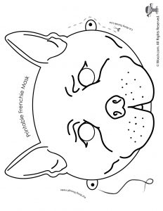 French Bulldog Mask - Coloring Page