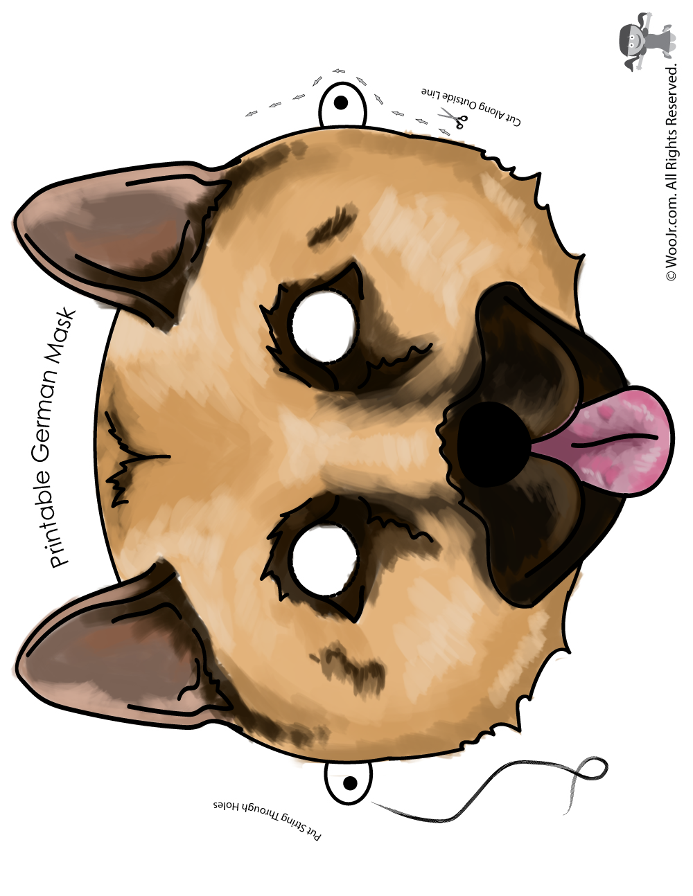 Kids Dog Mask: German Shepherd Mask - Full Color