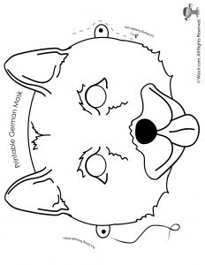 German Shepherd Mask - Coloring Page