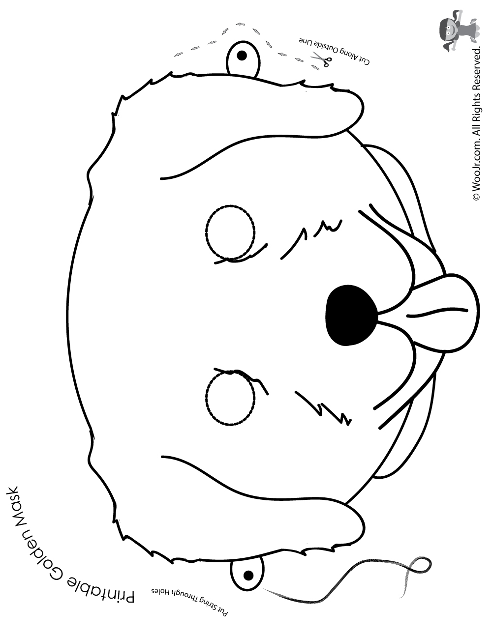 Free Printable Dog Mask: Golden Retriever Mask - Coloring Page
