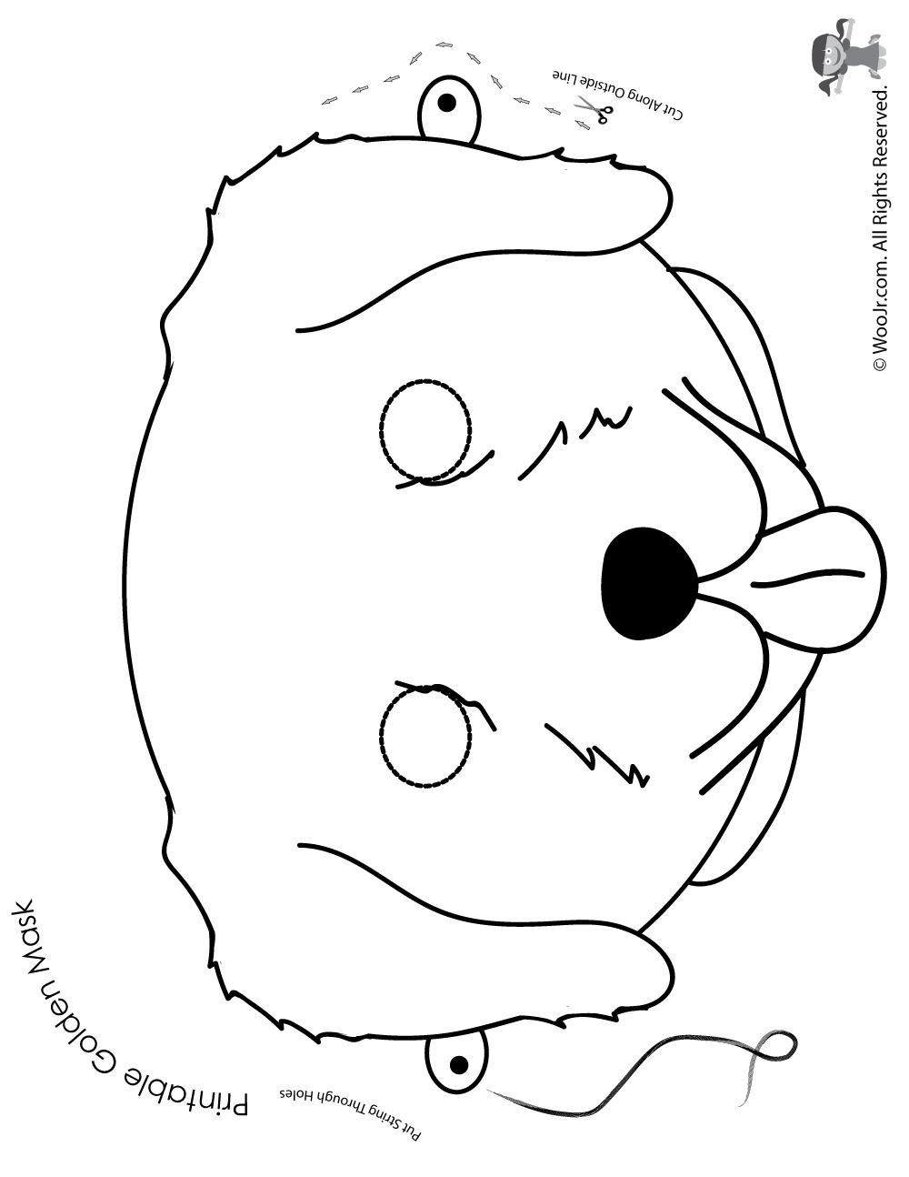 Dog Mask Printable: Golden Retriever Mask - Coloring Page
