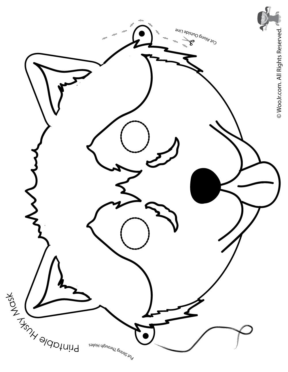 Free Printable Dog Mask: Husky Mask - Coloring Page