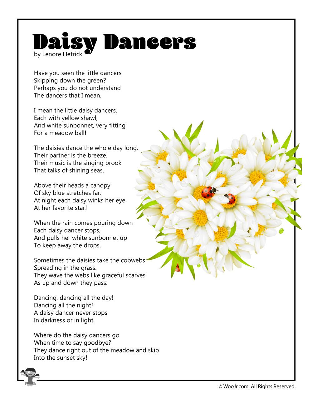 Daisy Dancers Childrens Poem Printable Woo Jr Kids Activities