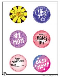 Mother's Day Button Art with Cutting Line