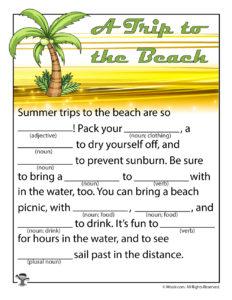 A Trip to the Beach Printable Ad Libs