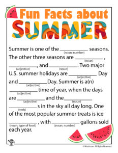 Fun Facts About Summer Ad Lib to Print