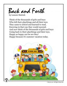 Back and Forth Summer Vacation Poem