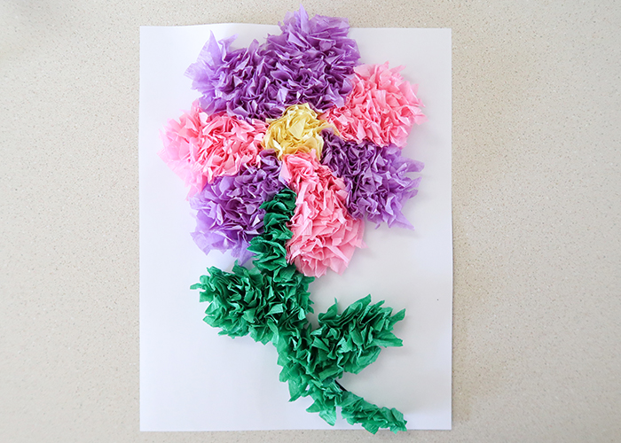 Tissue paper flower art project woo jr kids activities and youre all done i hope you had fun learning how to make this tissue paper flower art project mightylinksfo