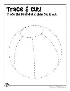 Summer Trace and Cut Simple Worksheet