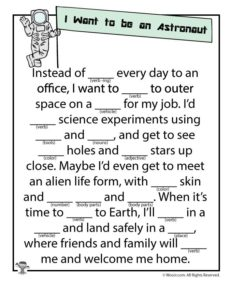 I Want to Be an Astronaut Ad Lib Printable