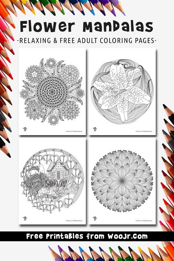 Flower Mandalas - Relaxing & Free Adult Coloring Pages