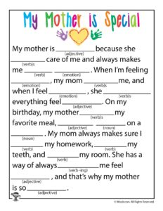 My Mother is Special Printable Ad Lib