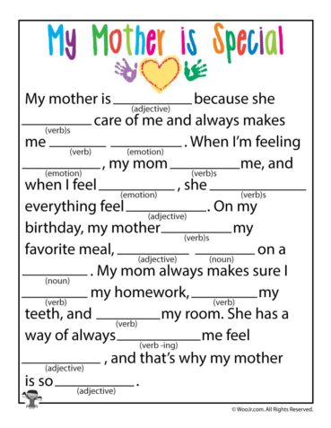 Mother's Day Ad Lib Fill In Stories