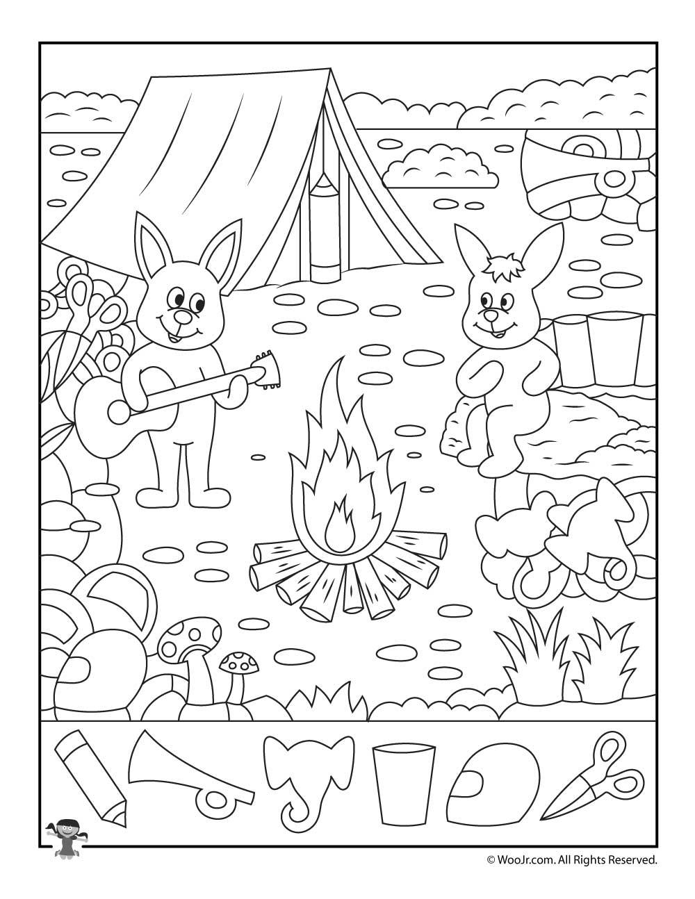 Summer Camp Hidden Pictures Page Woo Jr Kids Activities